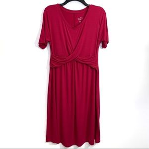 Isabel Maternity Size M Pink Ruched T-Shirt Dress